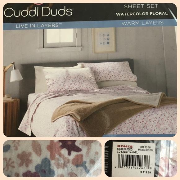 Cuddl Duds Flannel Sheet Set King Size Water Color Floral